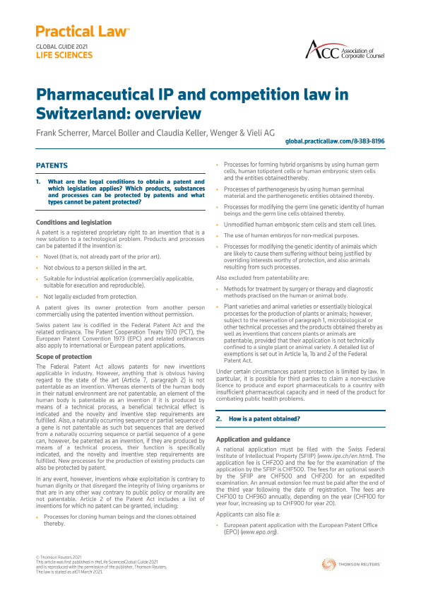 Pharmaceutical IP and competition law in Switzerland