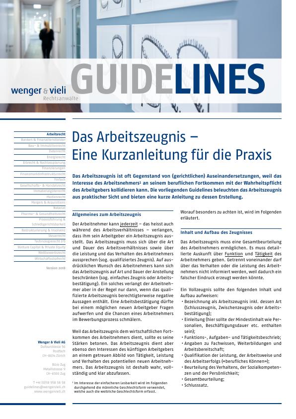 Labor & Employment Law - Wenger & Vieli AG