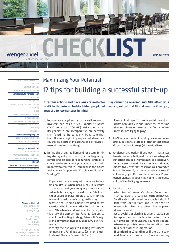 12 Tips For Building A Successful Start Up Wenger Vieli Ag