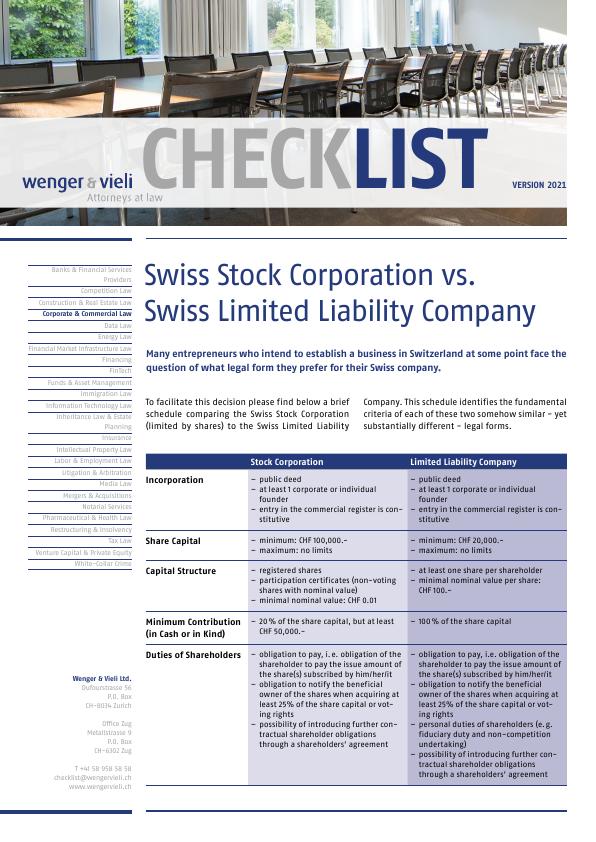 Comparison Swiss Stock Corporation Vs Swiss Limited Liability