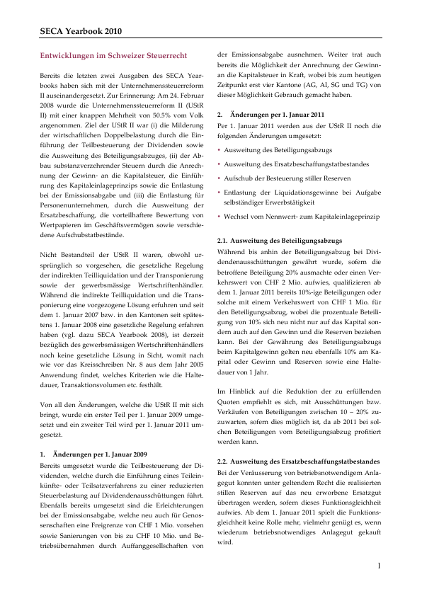 Seca Yearbook 2010 Entwicklungen Im Schweizer Steuerrecht Wenger