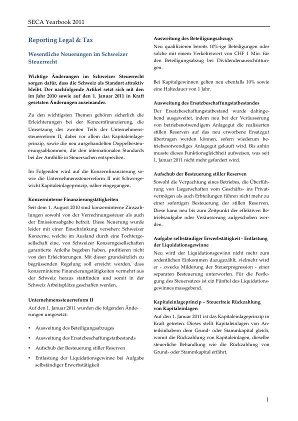 Seca Yearbook 2011 Entwicklungen Im Schweizer Steuerrecht Wenger