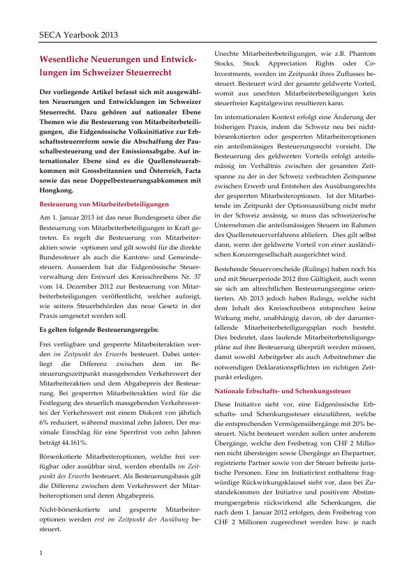 Seca Yearbook 2013 Wesentliche Neuerungen Und Entwicklungen Im